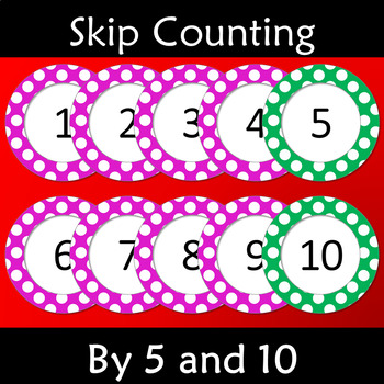 Skip Counting by 5 and 10 Pink Polka Dots (1-100) Number Cards