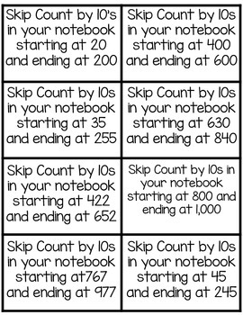 Skip Counting by 5s, 10s, and 100s up to 1,000:  Math Notebook CCS 2.NBT.A.2