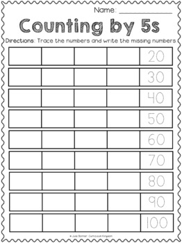Skip Counting by 5s - Number Trace & Fill - Differentiated/Scaffolded!