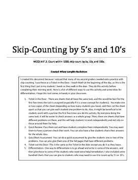 Skip Counting by 5s and 10s Packet