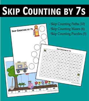 Skip Counting by 7s Worksheets - Paths, Mazes & Puzzles