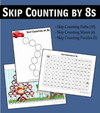 Skip Counting by 8s Worksheets - Paths, Mazes & Puzzles