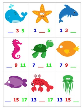 Skip Counting by Odd 2's Top-It with ocean creatures