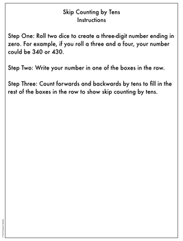Skip Counting by Tens: Math Activity