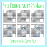 Skip Counting by Two's Number Mazes Clip Art for Commercial Use