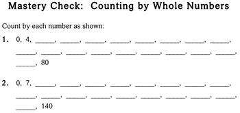 Skip Counting by Whole Numbers, 3rd grade - Individualized Math - worksheets