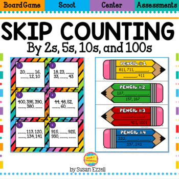Skip Counting by 2s, 5s, and 10s Math Station Task Cards and Foldables