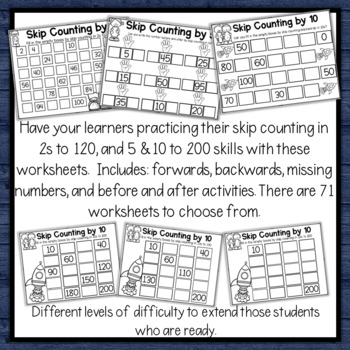 Skip Counting in 2's, 5's and 10's sorting cards, before & after and worksheets