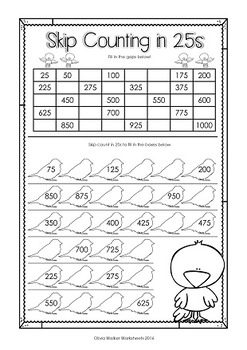 Skip Counting in 25s to 1000  (by 25s) Printables / Worksheets