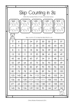 Skip Counting in 3s to 1000 Worksheets / Printables (by 3s / threes )