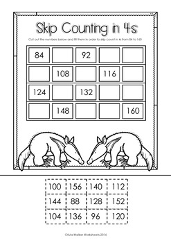 Skip Counting in 4s to 1000 Worksheets / Printables (by 4s / fours)