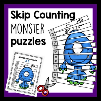 Skip Counting multiplication monster puzzles 1 - 12