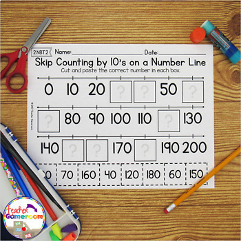 Skip Counting on a Number Line by 10's Worksheets