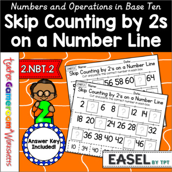 Skip Counting on a Number Line by 2's Worksheets