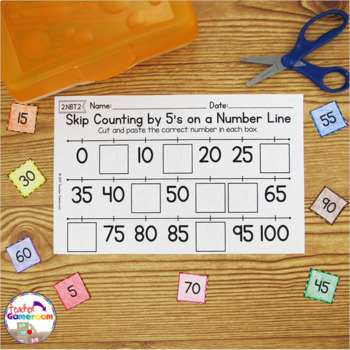 Skip Counting on a Number Line by 5's Worksheets