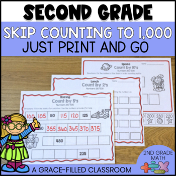 skip counting worksheets to 1 000 by a grace filled classroom tpt. Black Bedroom Furniture Sets. Home Design Ideas