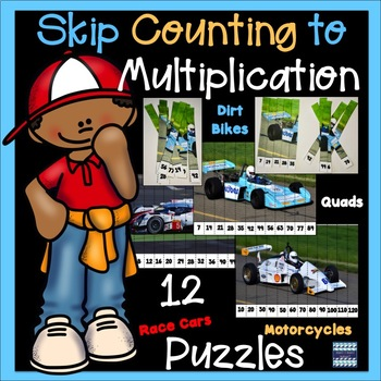 Skip Counting to Multiplication Puzzles:  Race Car Theme