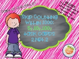 Skip Counting with 1000: 5s, 10s, 100s Task Cards 2.NBT.2
