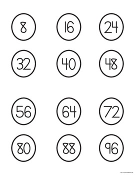 Skip Counting/Multiplication Caterpillar Math Center Game - BLACK AND WHITE