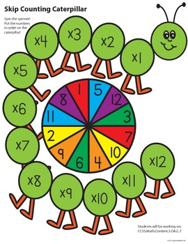 Skip Counting/Multiplication Caterpillar Math Center Game - COLORED