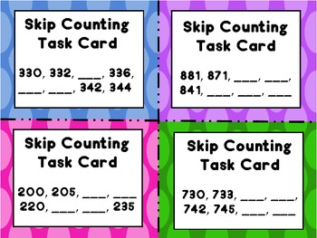 Skip, Skip, Skip Through the Numbers...Skip Counting Task Cards