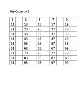 Skip count worksheet