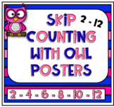 Skip counting 2 - 12 posters with owl freebie