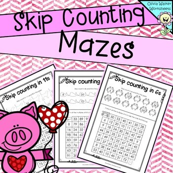 Skip counting  : Mazes and fill in the gaps.