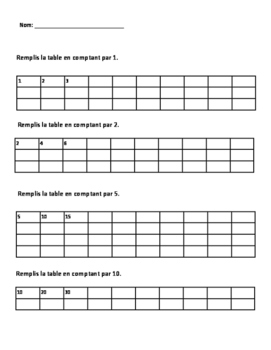 Skip counting and counting backwards assessment
