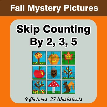 Skip counting by 2, 3, 5 - Autumn (Fall) Color By Number   Math Mystery Pictures