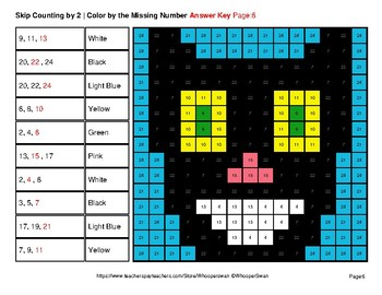 Skip counting by 2, 3, 5 - Cats Color By Number   Math Mystery Pictures