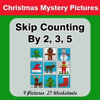 Skip counting by 2, 3, 5 - Christmas Color By Number | Math Mystery Pictures