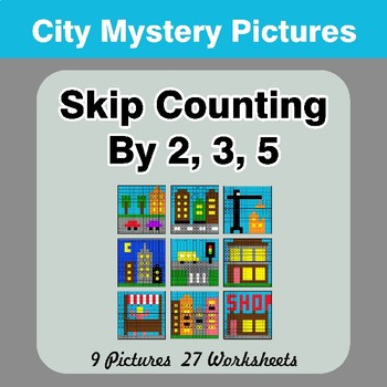 Skip counting by 2, 3, 5 - City Color By Number | Math Mystery Pictures