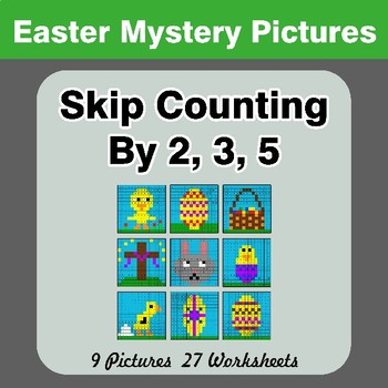 Skip counting by 2, 3, 5 - Easter Color By Number | Math Mystery Pictures