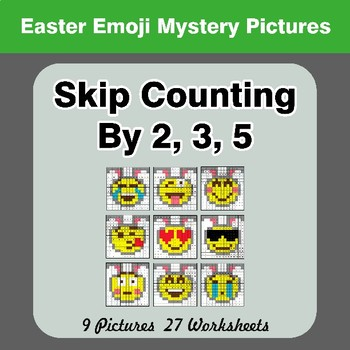 Skip counting by 2, 3, 5 - Easter Emoji Color By Number | Math Mystery Pictures
