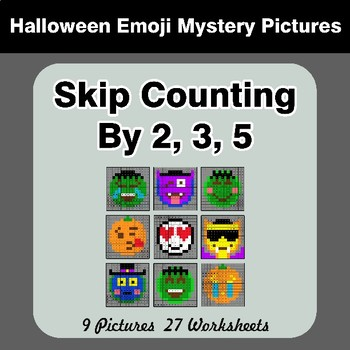 Skip counting by 2, 3, 5 - Halloween Emoji Mystery Pictures