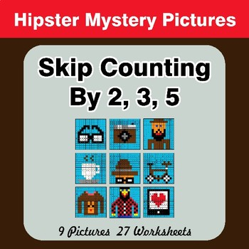 Skip counting by 2, 3, 5 - Hipsters Color By Number   Math Mystery Pictures