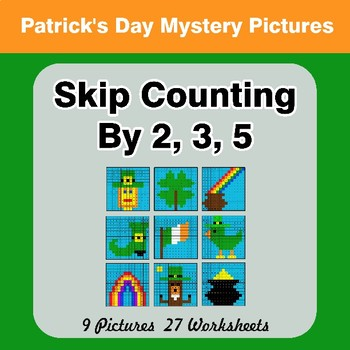 Skip counting by 2, 3, 5 - St. Patrick's Day Color By Number