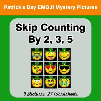 Skip counting by 2, 3, 5 - St. Patrick's Day Emoji Math Mystery Pictures