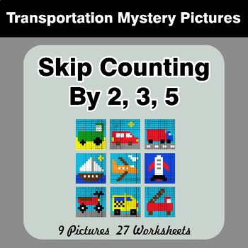 Skip counting by 2, 3, 5 - Transportation Color By Number Math Mystery Pictures