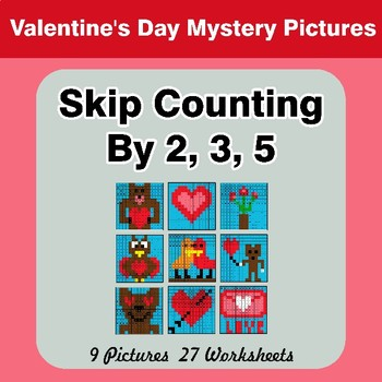 Skip counting by 2, 3, 5 - Valentine's Day Color By Number