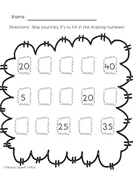 Skip counting: fill in the blanks
