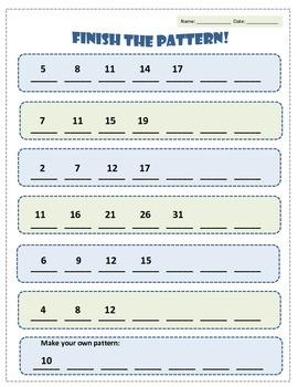 Skip-counting (increasing patterns) worksheets!