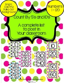 Skip Counting By 5's and 10's Posters- Bright, Colorful Polka-Dot 1-120