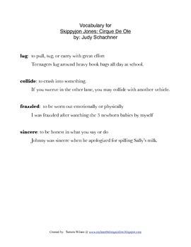 Skippyjon Jones: Cirque de Ole, by Judy Schachner: Vocabulary Activities