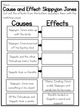 Skippyjon Jones Collection of Cause and Effect Worksheets | TpT