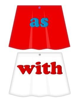 "Skirts on Clothesline ""FRY"" Sight Words - 1st 25"