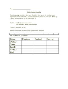 Skittle Fraction Performance Task