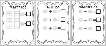 Skittles Math Book: Concept of Number, Graph, Add/Subtract, Ten Frames, Patterns