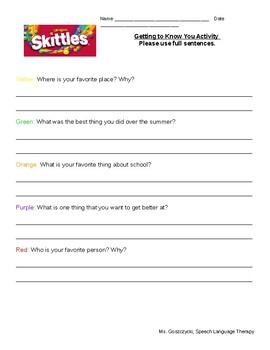 Skittles Getting to Know You Activity